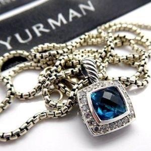 David Yurman Blue Topaz Albion Necklace 925